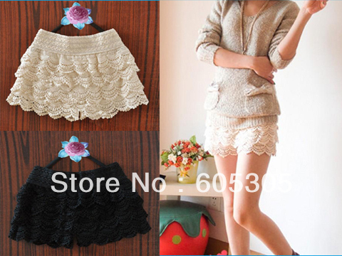 Fashion Layer upon Layer Safe Lace Tiered Short Skirt Under Safety Pants Shorts
