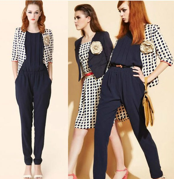 Fashion Lily loose three-dimensional chest folds chiffon high waist Jumpsuits Rompers pants Navy blue,Green S,M,L #4444