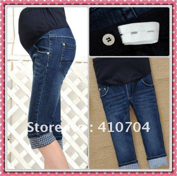 fashion maternity pants Denim capri trousers Elastic waistline jeans m l xl xxl  top quality for Pregnant women