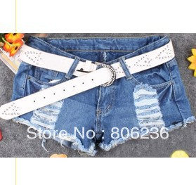 Fashion New Arrive Korean Style Ripped Lace Individual Pocket Jeans  A1721