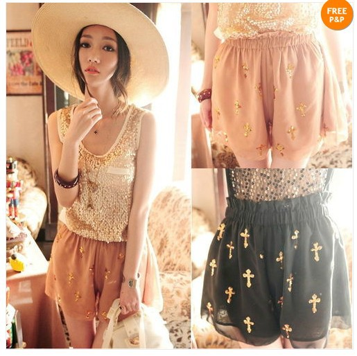 Fashion New Womens Shiny Sequins Latin Cross Chiffon Skirt Divided Culottes Pants Shorts Ladies Lonely
