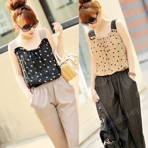 Fashion On Moon Fancyqube Chic Sleeveless Polka Dot Jumpsuit