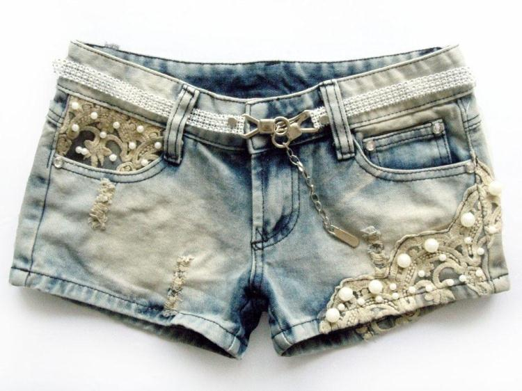 Fashion Pearl Beading Lace Ornament Denim Shorts Vintage Color Women Jean Short Pants free shipping