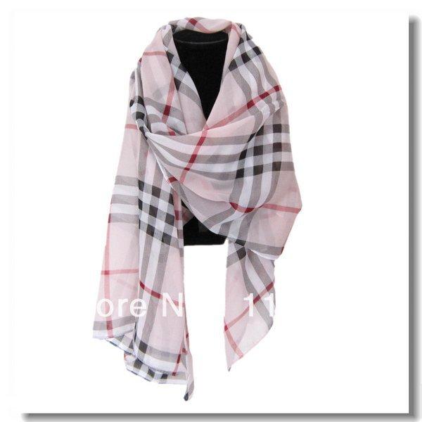 Fashion Pink Women's Check Plaid Pattern Chiffon Scarf Shawl Wrap 170cm*70cm, Free Shipping