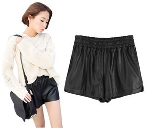 fashion PU faux leather ladies'  shorts