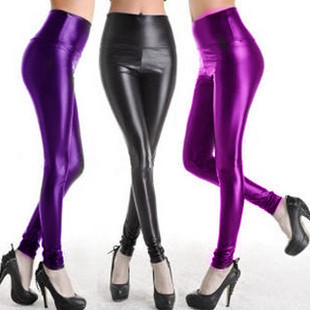 Fashion sexy Every light matt dolphin faux leather pants leather rs body shaping pants ankle length trousers female slimming