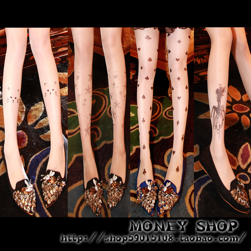 Fashion small sexy pattern skin Core-spun Yarn pantyhose stockings