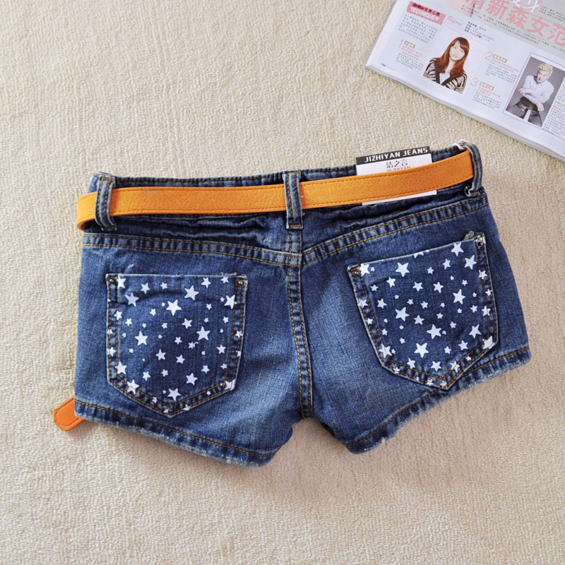 Fashion Star Printing Boot Cut Short Jeans Blue Cotton Women Denim Shorts free shipping