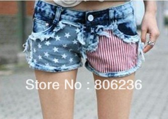 Fashion Stars Stripes US Flag Classical Summer Denim shorts/hot pants pants A2408