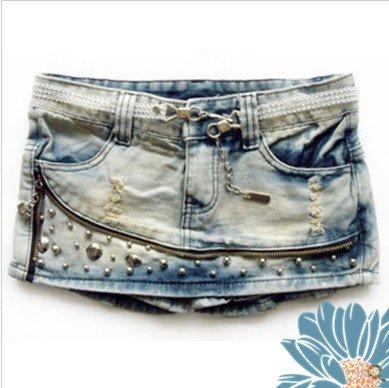 Fashion Style Culotte Denim Shorts 2012 Summer Rivet Shitsuke Hot Pant S to XL Joker Zipper Pockets Lady Lower Cloth