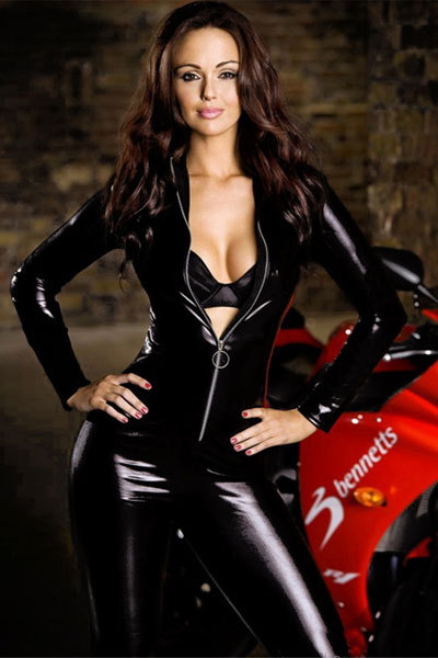 Fashion Style! Long Sleeve Catsuit Black Wet Look  Club Wear Bodysuits With Silver Zipper Front LB1268