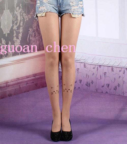 Fashion Tattoo Pantyhose Transparent Tights Leggings Lovely Cat Pantyhose Stockings