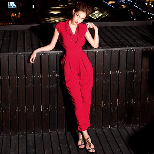 fashion  V neck  double pockets  red jumpsuit  #12010