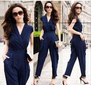 Fashion v-neck Lady's Rompers Halter Design Blouse Jumpsuit Women's jumpsuit overall Harem pants free shopping WD14