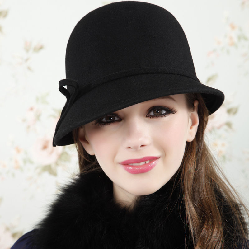 Fashion vintage dome woolen cap spring and autumn winter fedoras female hat female bucket hats