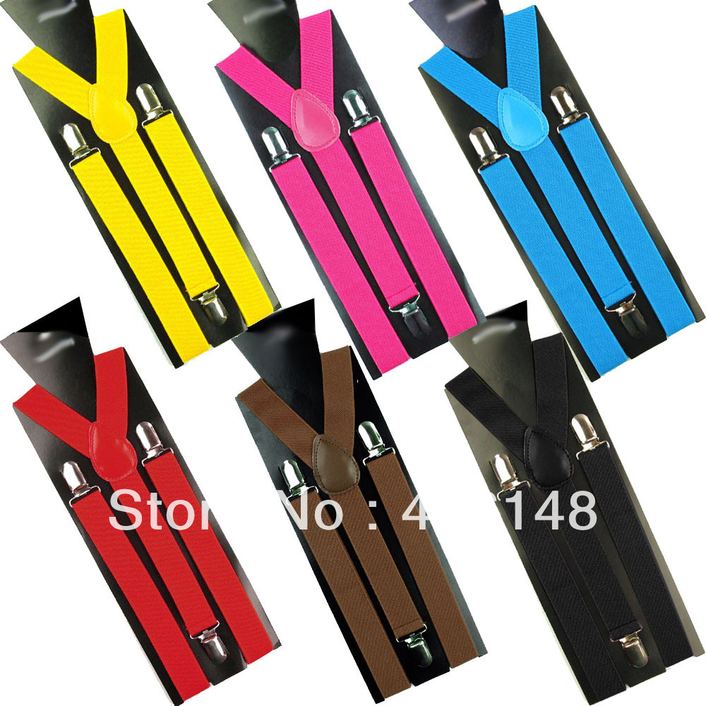 fashion vintage Skinny Braces suspender clips Mens Ladies Neon Plain Adjust Colourful Clip-on Y-back free shipping