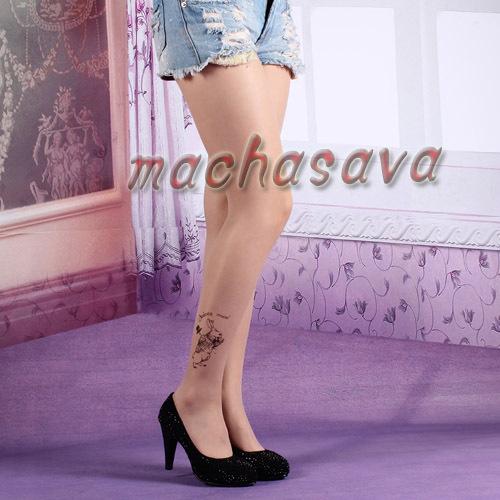 Fashion Wholesale Rabbit Transparent Tattoo Tights Leggings Pantyhose Stockings