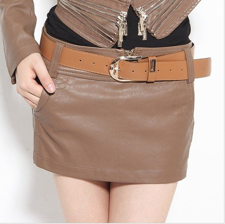 Fashion wild PU shorts leather pants skirt belt delivery # 3959