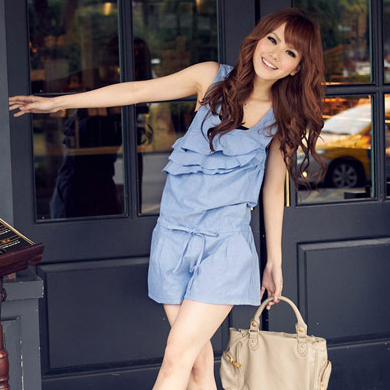 Fashion wind ruffle strap sleeveless low-waist casual straight jumpsuit jumpsuit ,Free shipping