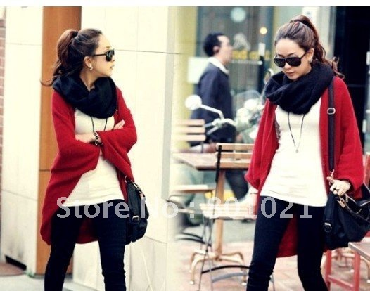Fashion Women Lady Loose Bat dolman Sleeve Knit Sweater Top Cardigan Shawl Cape Black/Gray/Red+Free Shipping