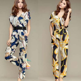 Fashion women's 2013 casual pants decorative painting pattern V-neck slim jumpsuit with belt ,free shipping #J289