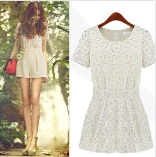 Fashion women's 2013 cutout lace o-neck ruffle fashion slim one-piece dress jumpsuit