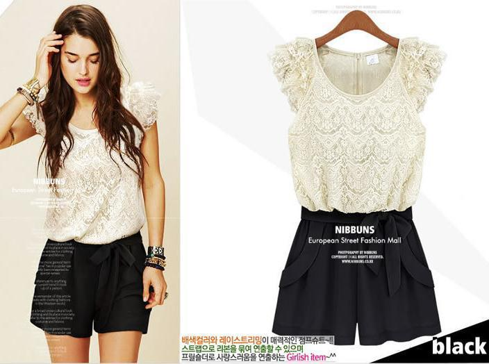 Fashion women's 2013 summer shorts personalized o-neck lace cutout laciness patchwork jumpsuit