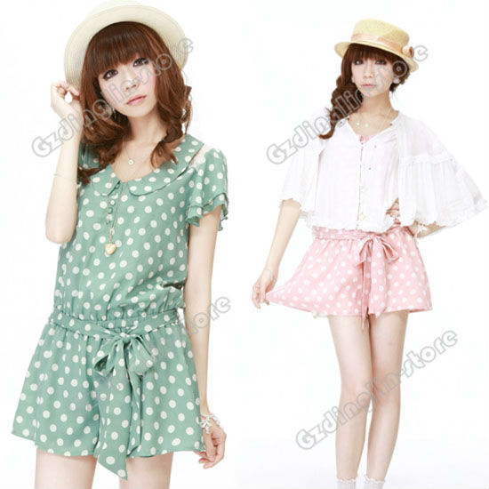 Fashion Women's Ladies Short Sleeve Casual Suit Dots Polka Pants Jumpsuit Rompers Tops Blouses Pink Green Free Shipping 0488