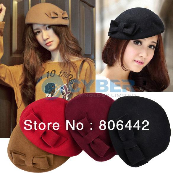 Fashion Women's Retro Wool Winter Autumn Bowler Beret Cap Bowknot Decor Hat Christmas Free Shipping 9084