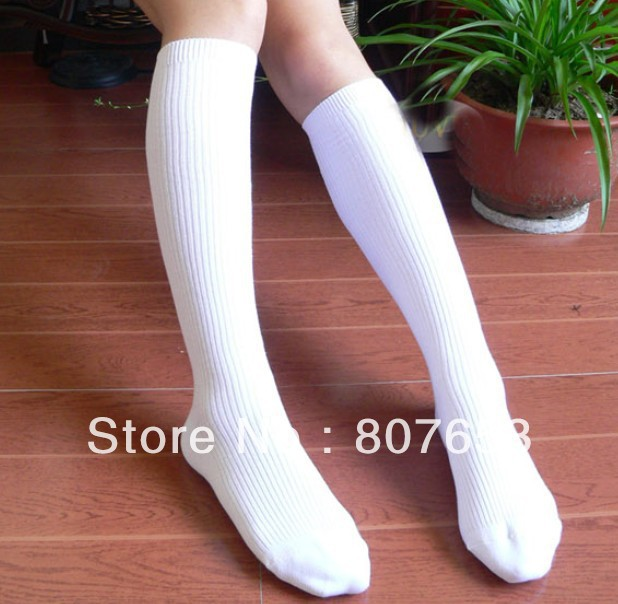 fashion women's sport socks students knee terry socks cotton white color long sport socks freeshipping 6pairs