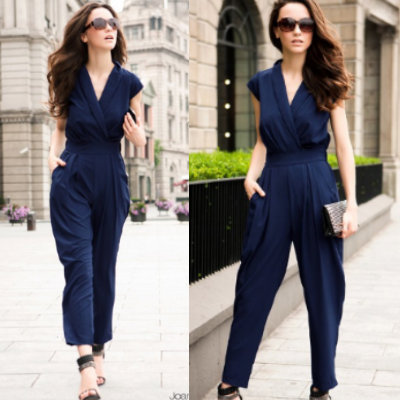 fashion  Women  women's 2013 good quality European style cross collar thin waist Jumpsuit free shipping promotion