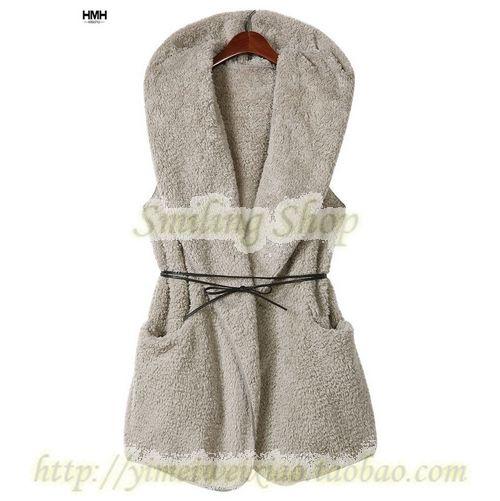 Fashion Womens Ladies Hoodie Faux Lamb Fur Long womens  Vest Jacket Coat free shipping