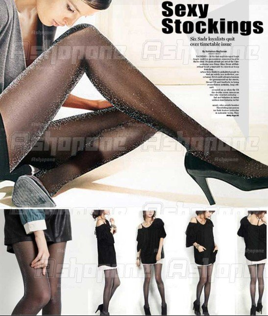 Fashion Womens Sexy Black Shining Glitter Pantyhose Stockings