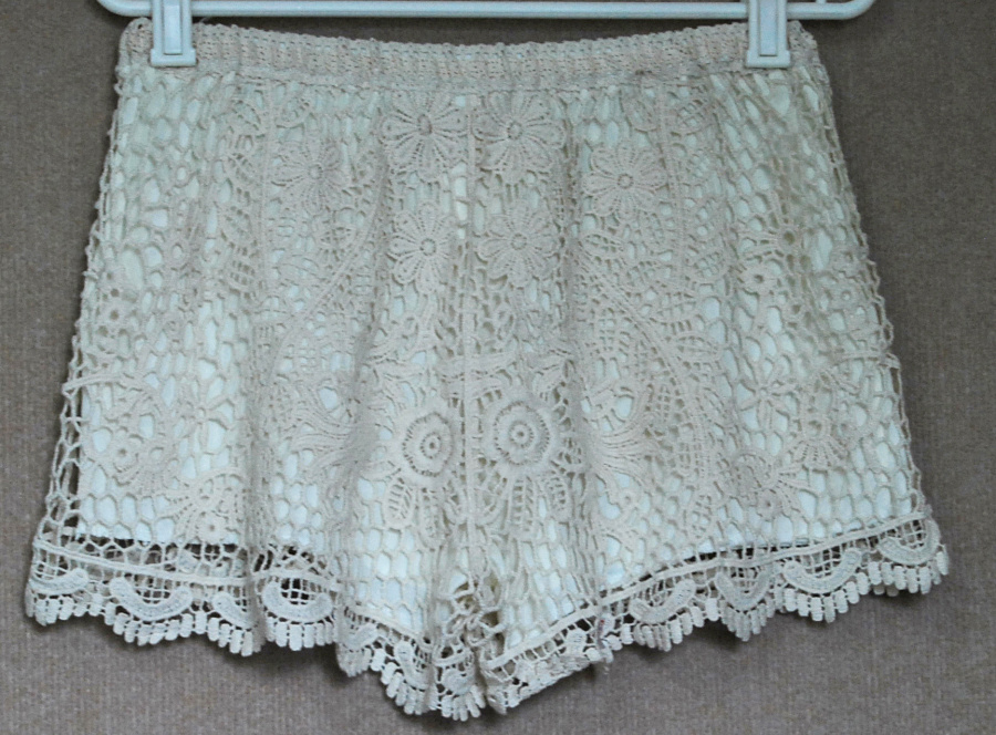 Fashion Womens Sweet Cute Crochet Tiered Lace Shorts Skorts Short Pants/Black/ Beige/Blue/Orang