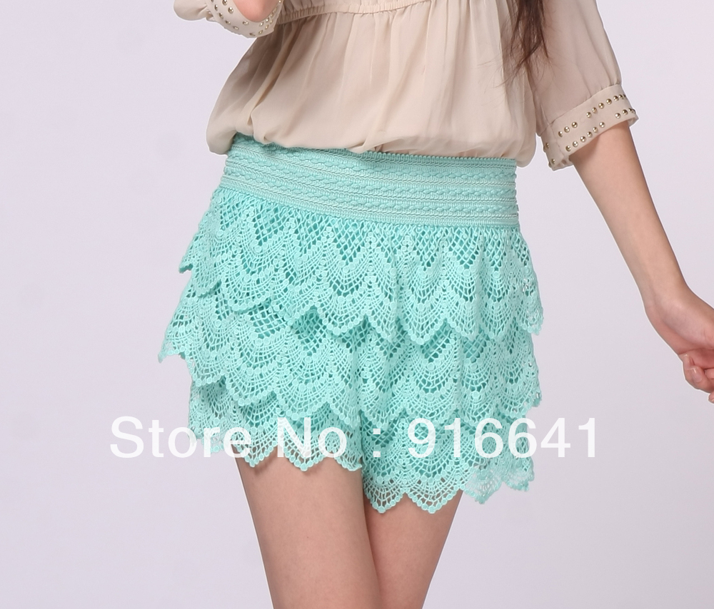 Fashion Womens Sweet New Fashion Lace Tiered Short Skirt Under Safety Pants Shorts Pink Blue