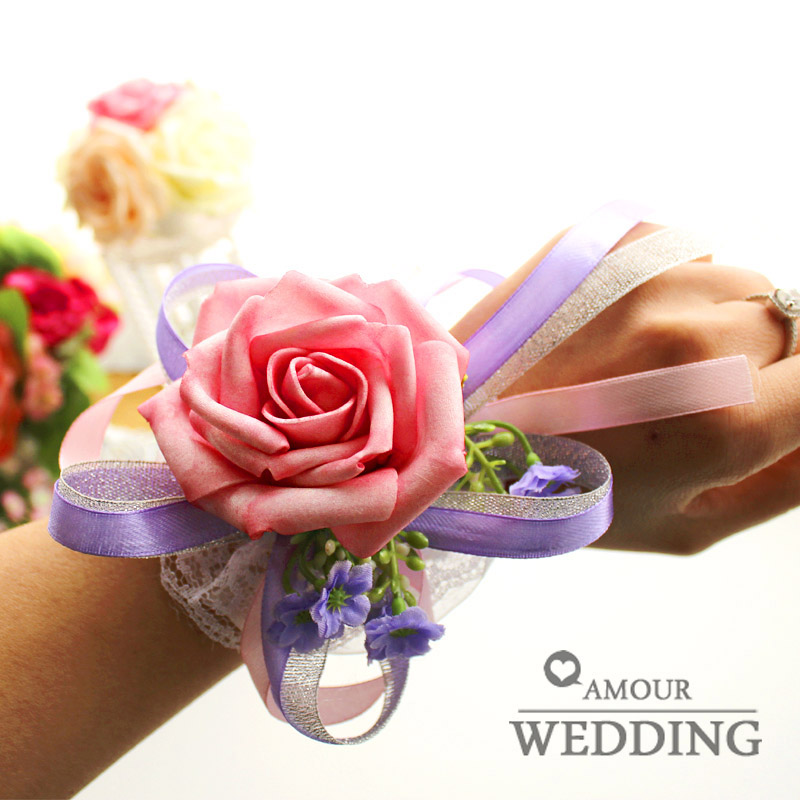 Fashion wrist length flower bride and bridesmaids wrist length flower wedding supplies artificial flower fzh09