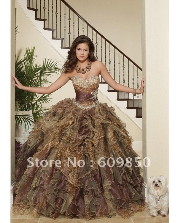 Fast delivery customized  strapless ball gown beading leopard  fashion Quinceanera Dresses