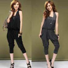 fast free shipping new arrival women jumpsuits & Rompers halter wrapped chest  lady Harem pants teddy black and dark gray
