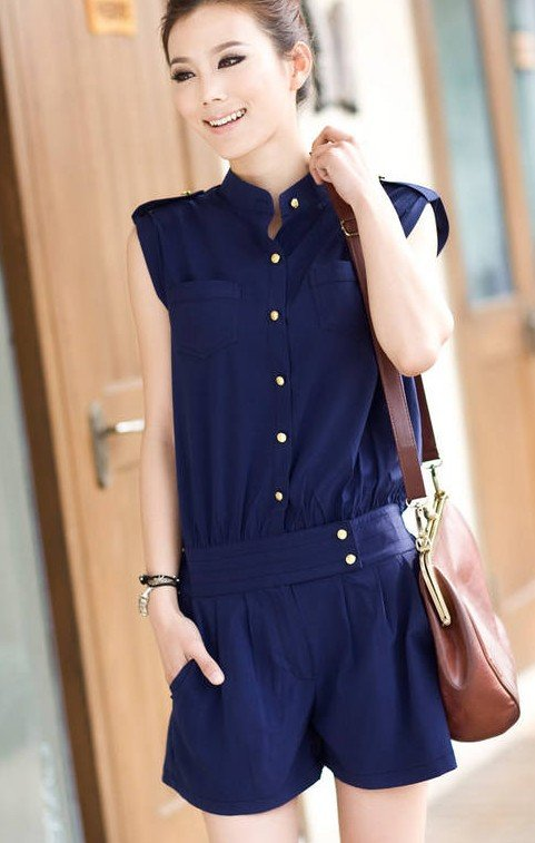 Fast&Free shipping Wholesale Korean 2012 Jumpsuits fashion chiffon shorts Suits women clothing high quality