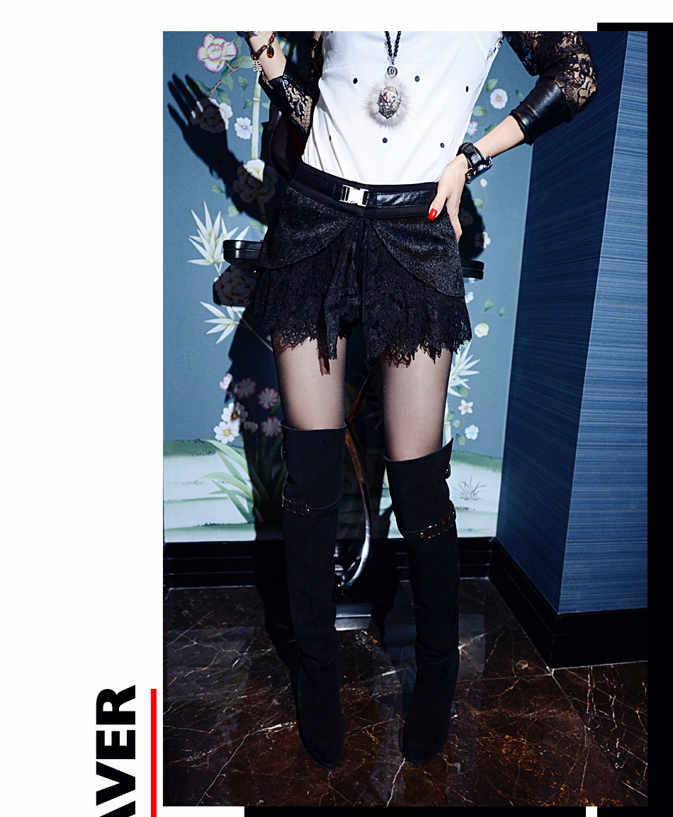 Fast/free shipping wholesale price 2013 fashion ladies black lace shorts women short pants new arrival