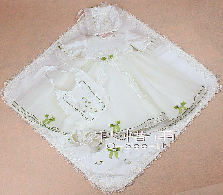 Fast shipping+Qseeit  original desigh white lace baby christening dress /baby princess dress /baby five-piece skirt