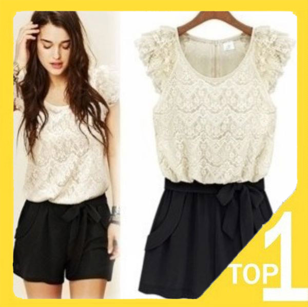 fast shipping  Wholesales 2013 new fashion elegant women's lace short rompers sexy shorts Korean style (1.27)