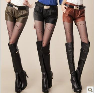 FastFree Shipping wholesale Korean new arrival 2012 fashion PU leather shorts women pants with belt short trousers