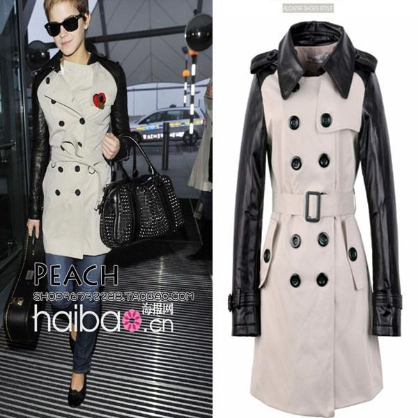 Faux Leather Sleeve Double Breasted Trench Coat Jacket M L XL XXL