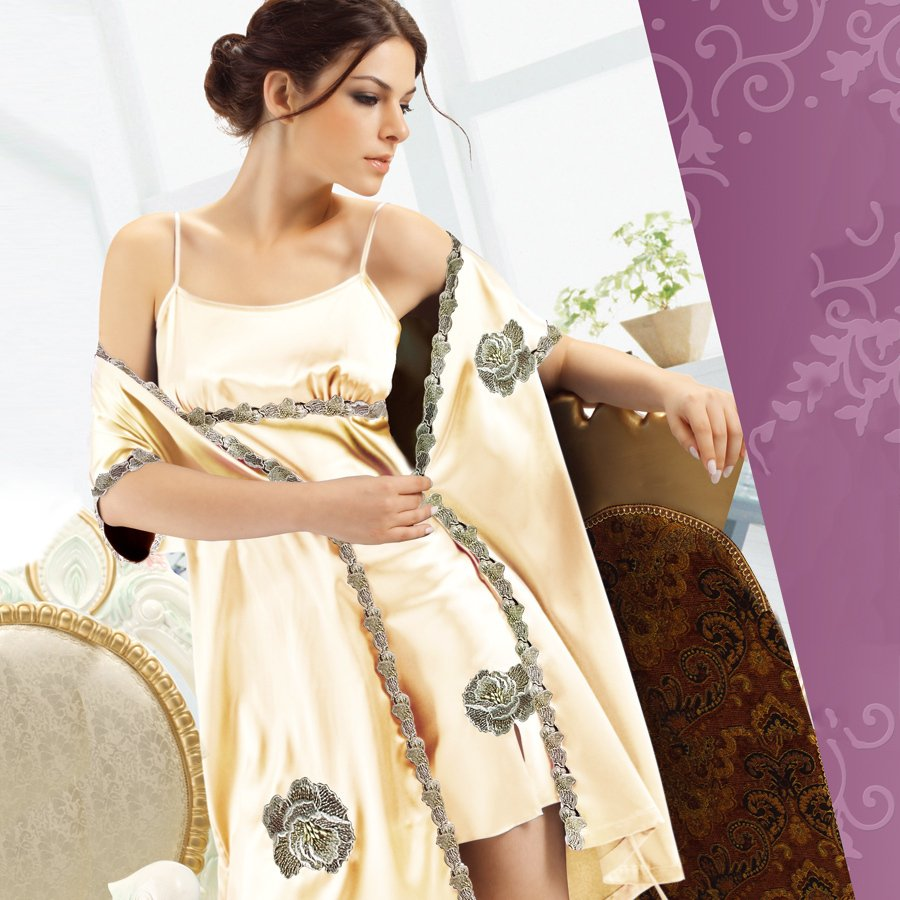Faux silk women's sleepwear lounge set sexy nightgown robe twinset 2022