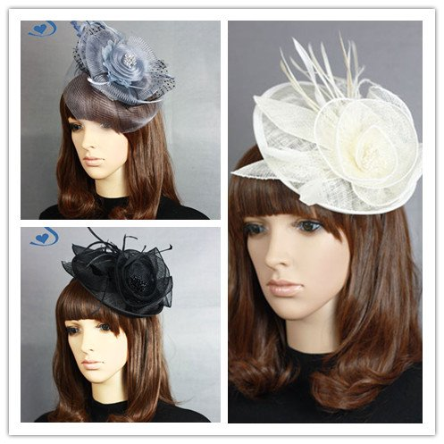 Feather headband bridal headwear royal hat birdcage veils top hats netting party Tiaras Wedding Accessories 2pcs/lot SH-2106