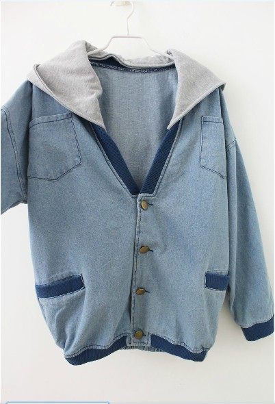 Female cardigan vintage batwing sleeve loose hooded trench denim outerwear denim coat casual shirt