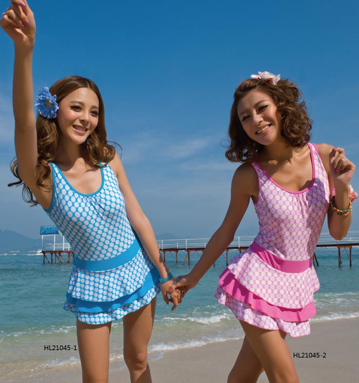 Female child large ploughboys layered dress one piece swimwear girl hot spring swimsuit 9 - 15