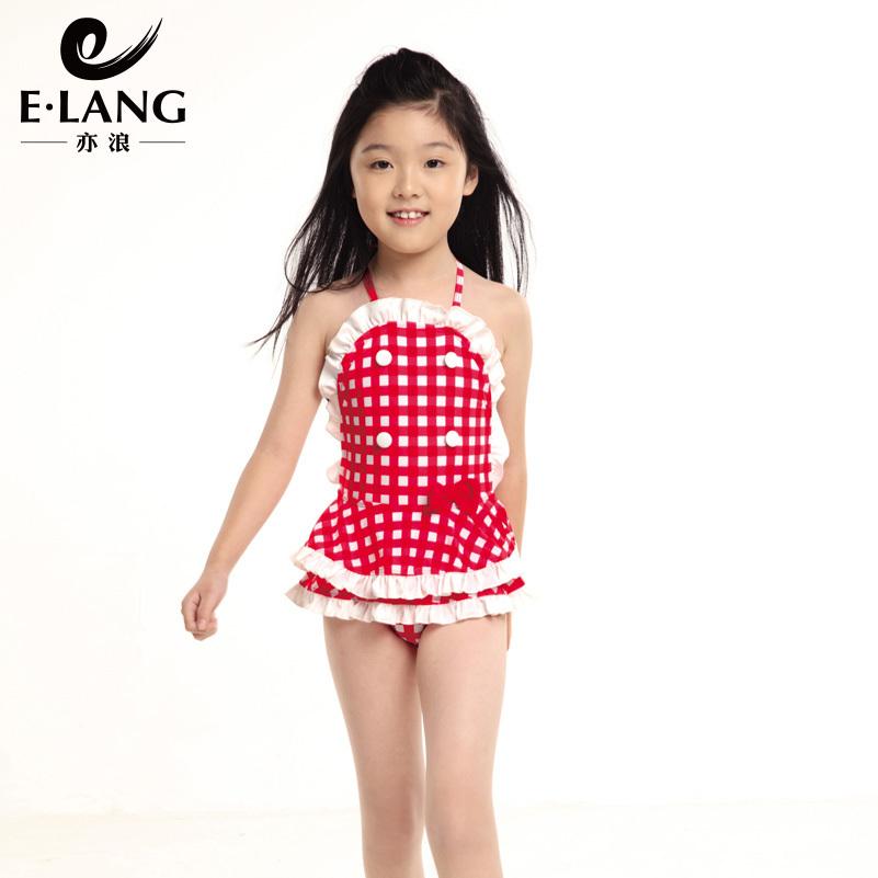 Female child one piece swimwear one piece small skirt little girl swimwear female beautiful