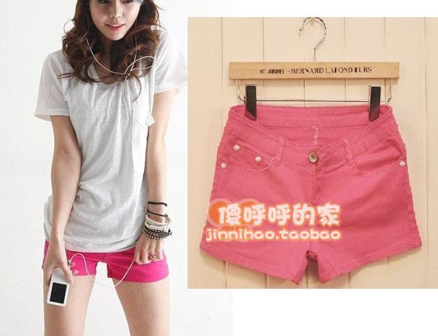 Female denim shorts candy color shorts multicolour shorts multicolour single-shorts